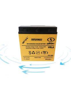 شرکت هژیر صنعت - مرکز خرید یو پی اس و انواع یوپی اس - باتری ۱۲ ولت ۱۸ آمپر صبا باتری